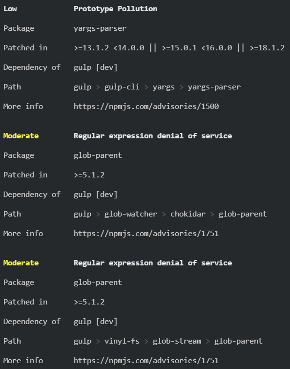 glob-parent and yargs-parser issues