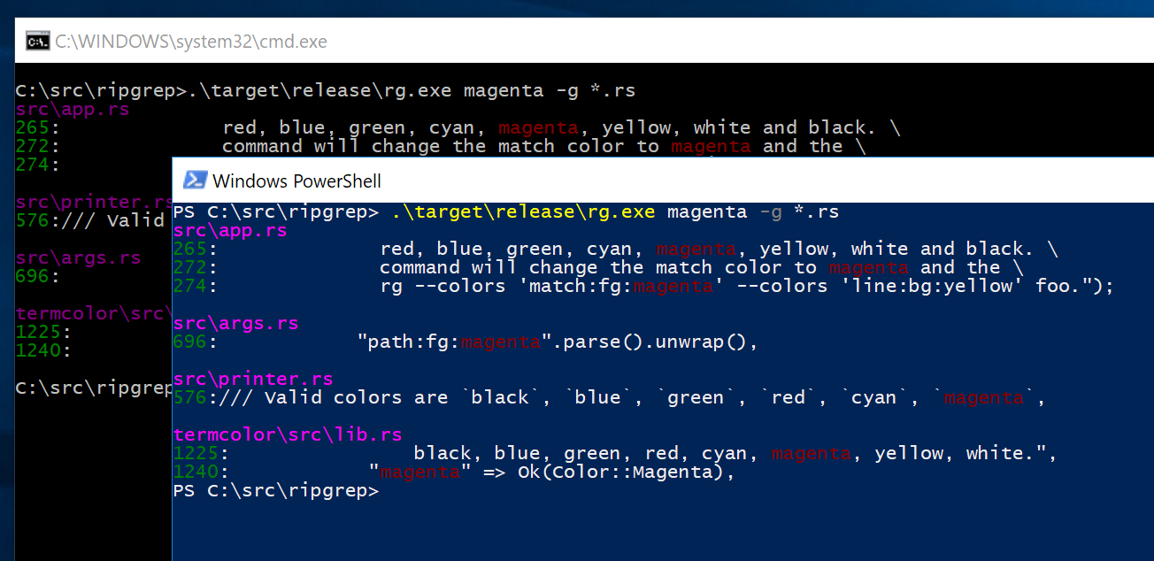 ripgrep output is invisible in PowerShell · Issue #342