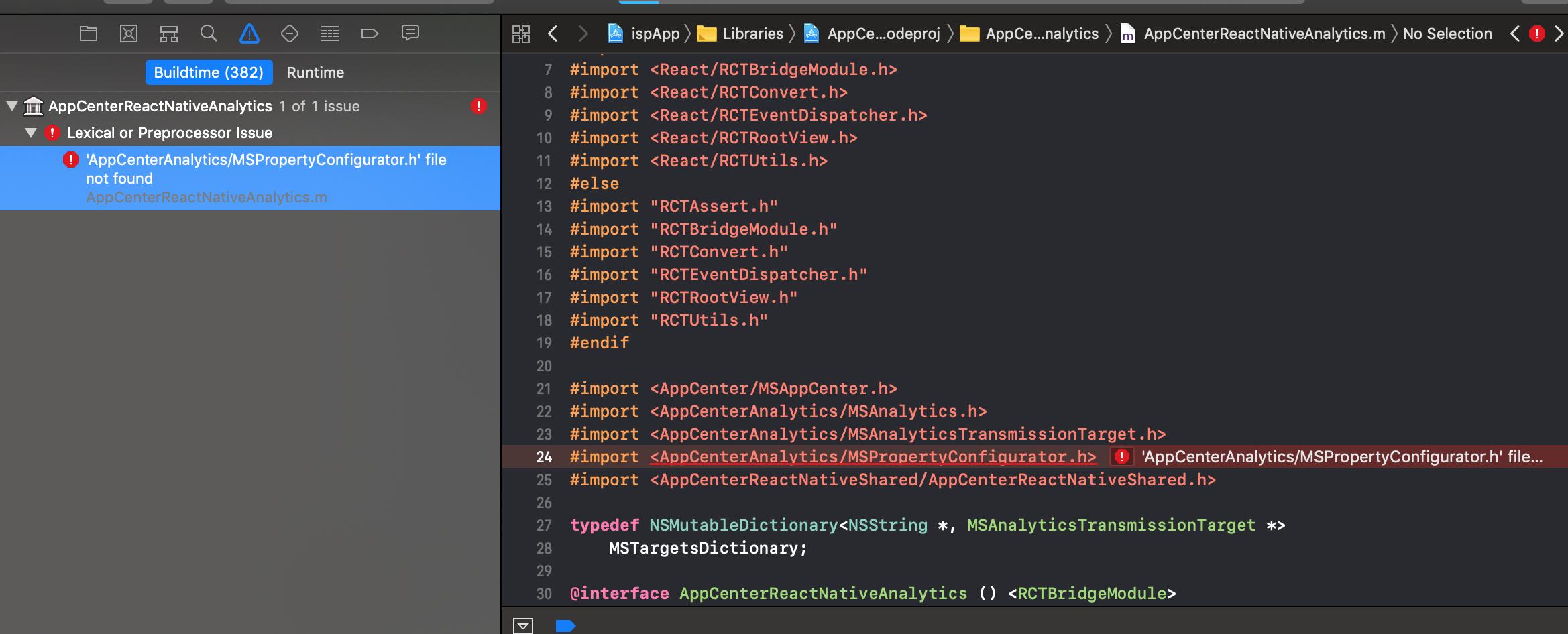 import <AppCenterAnalytics/MSPropertyConfigurator h> file