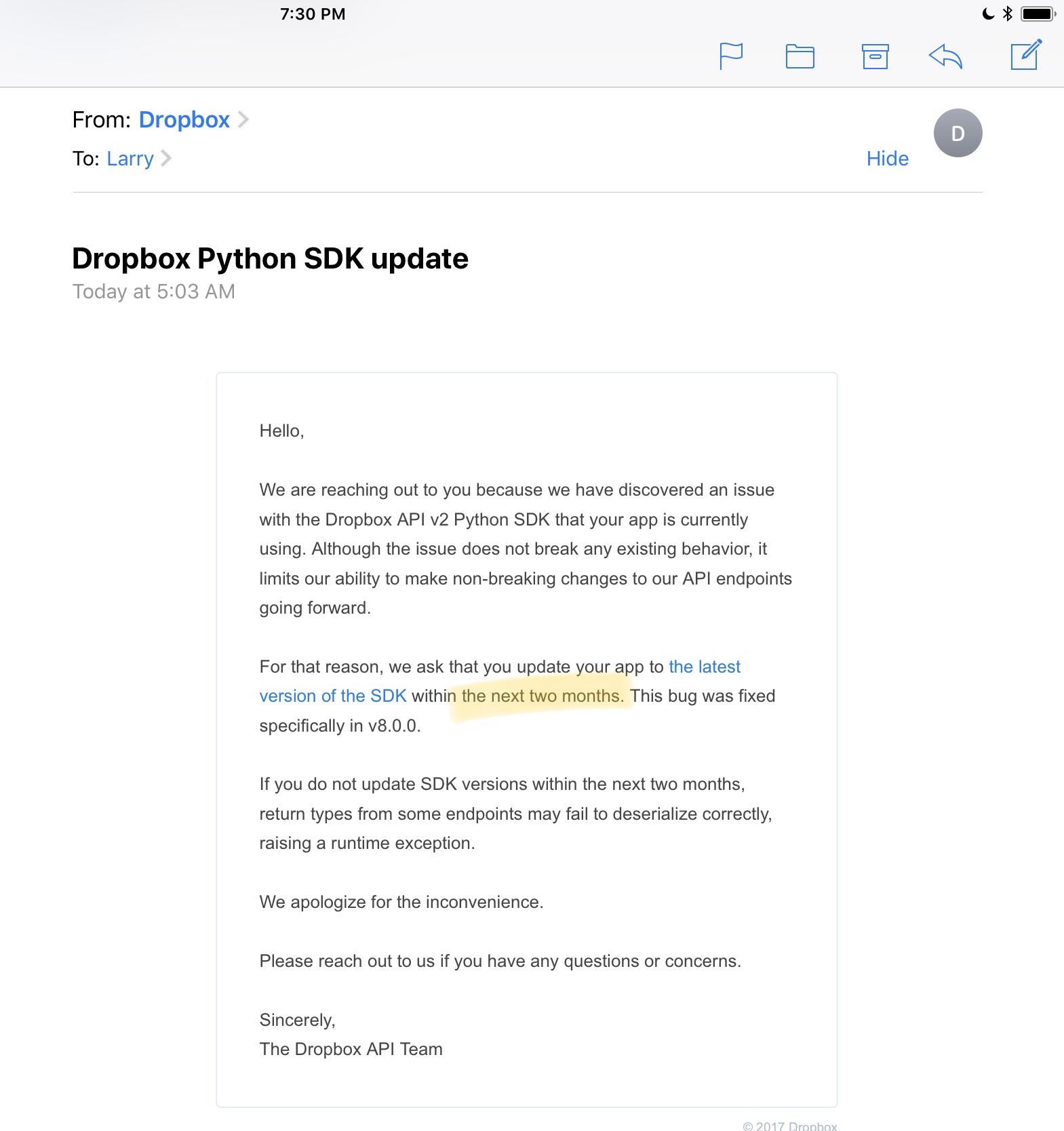 Update dropbox python SDK · Issue #478 · blockstack