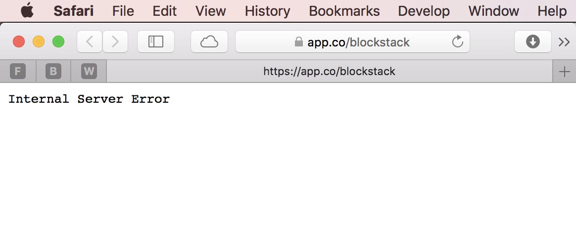 internal service error on page not found issue 93 blockstack