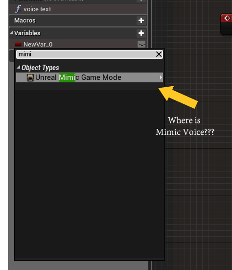 Mimic Voice object does not show up in search in editor