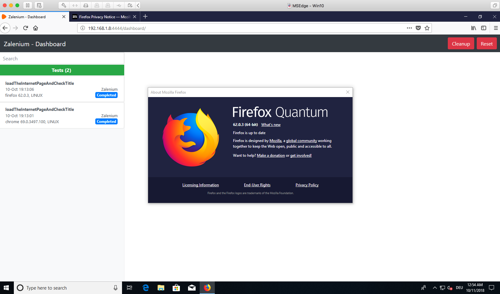 Test script status issue on Zalenium dashboard for Firefox
