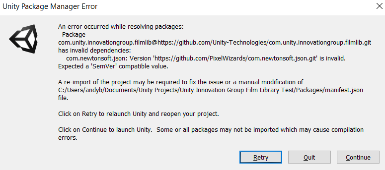 Package won't install  · Issue #2 · Unity-Technologies/com