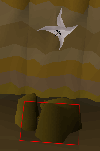 mining spot and obstacle highlighting