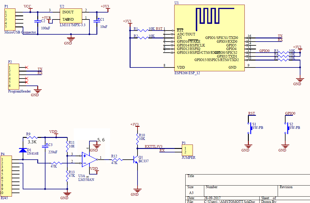 Alternative electrical circuit made with KiCad and using TSS721