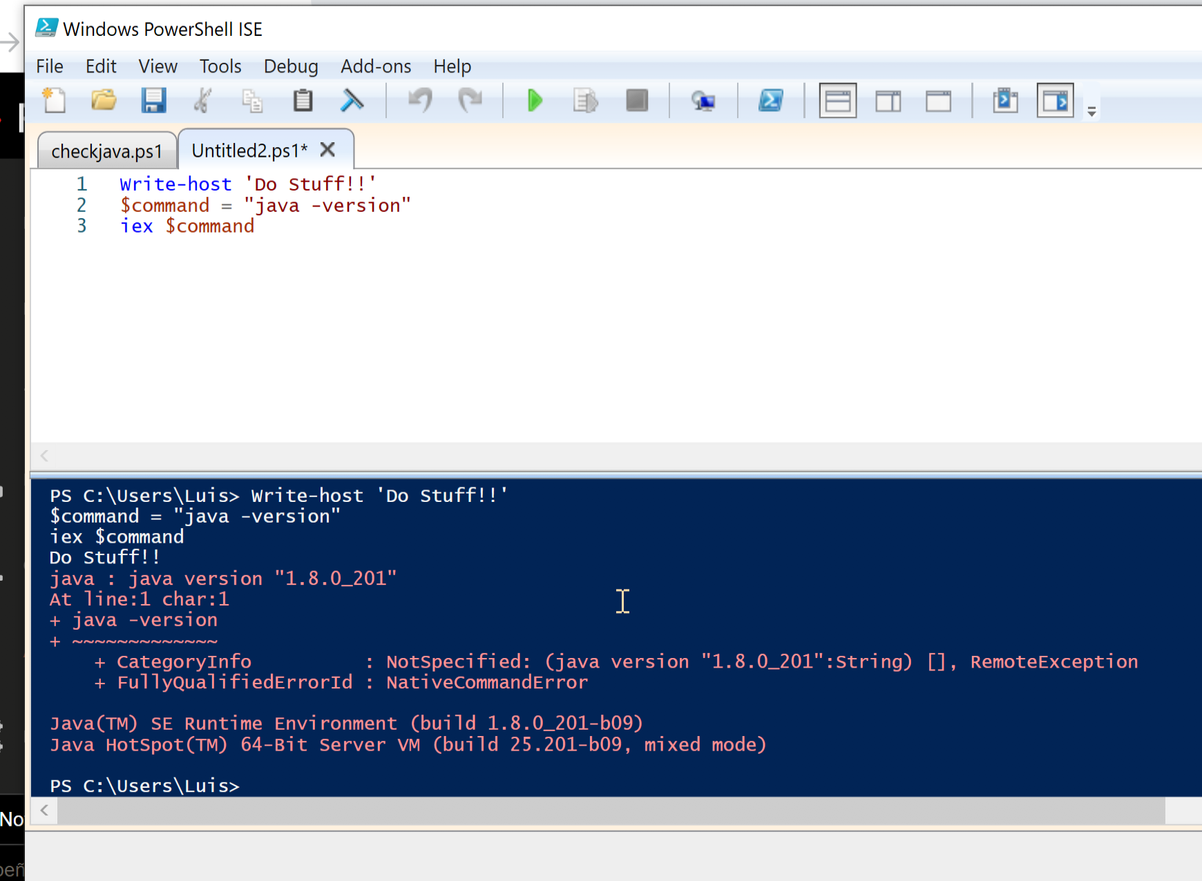 Powershell script doesn't show any output if have Java