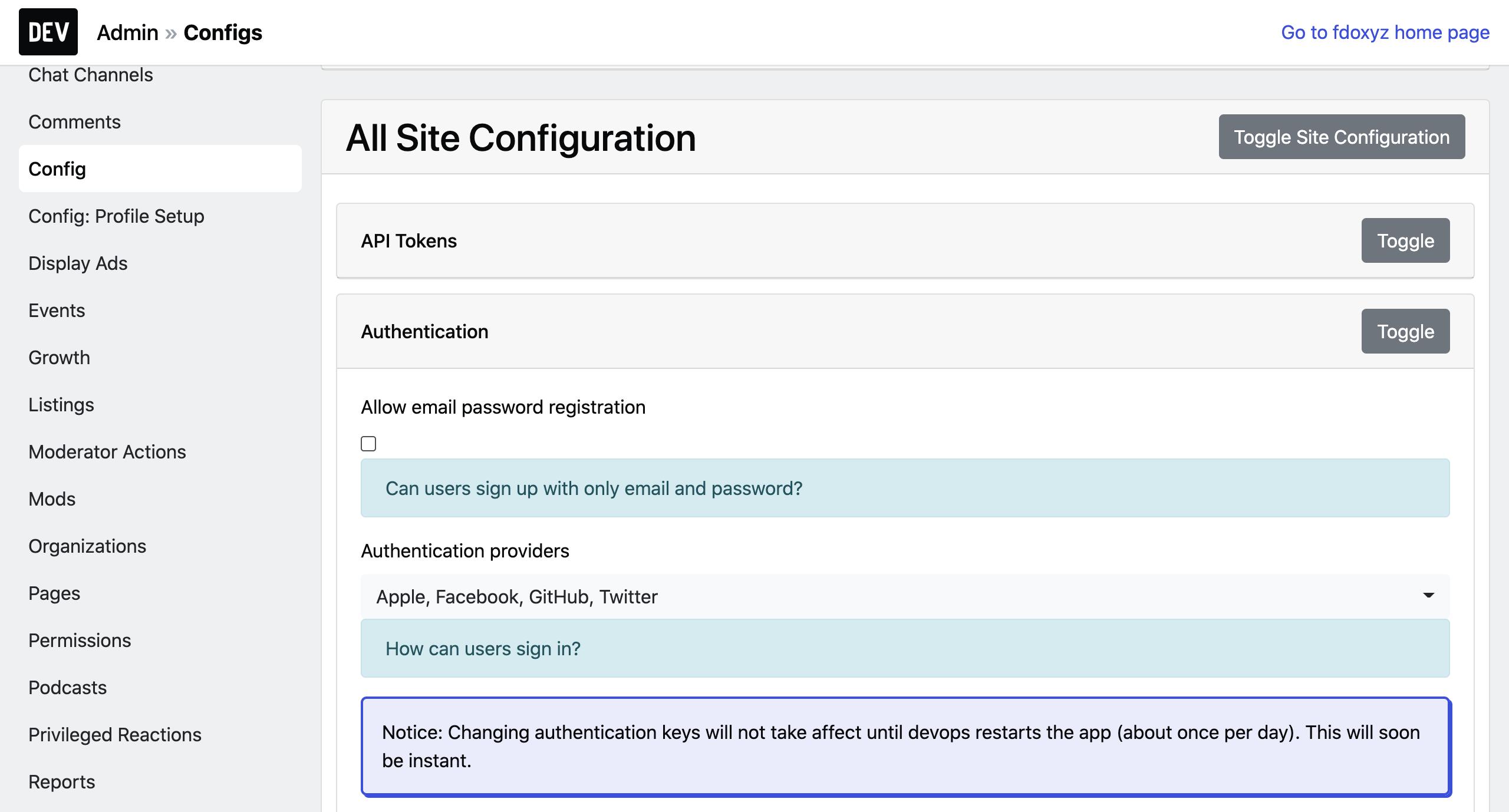 Admin Authentication Configuration Dashboard