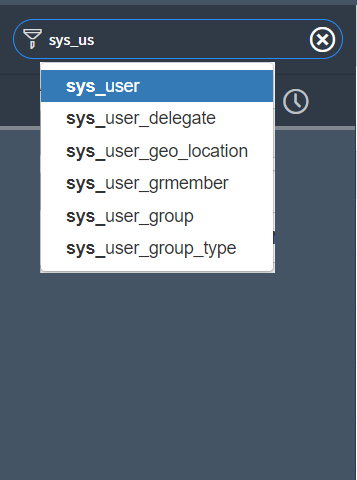 Extend Application Navigator: Autocomplete for technical table names