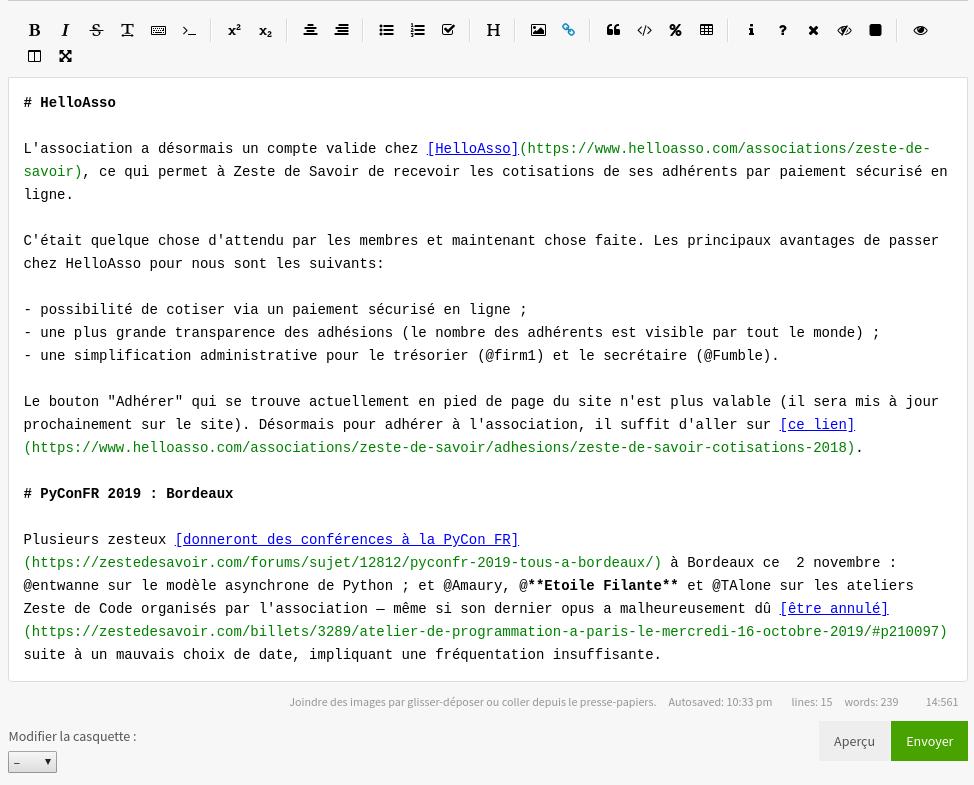 Exemple de coloration syntaxique sur une section d'article