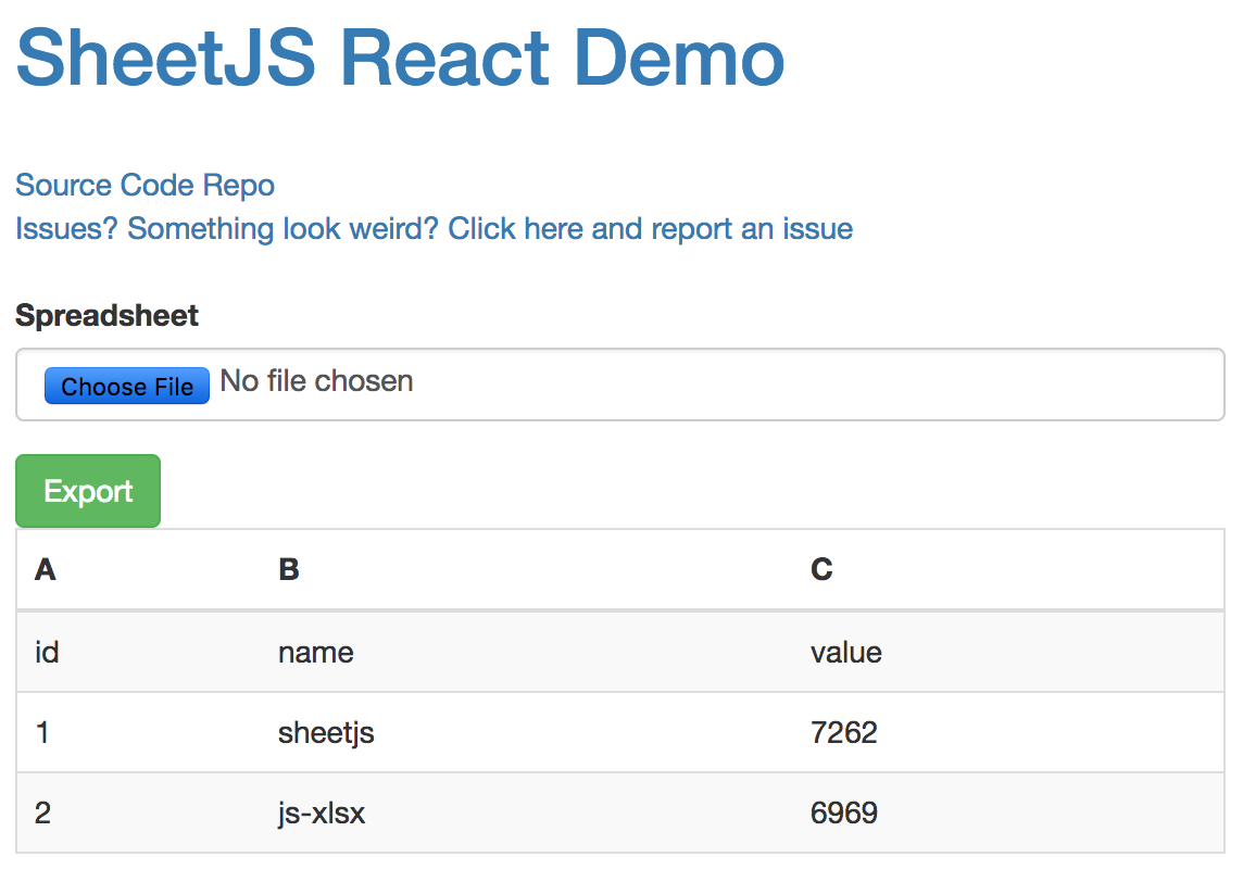 The ReactJS demo for js-xlsx is very unclear to me · Issue #1172