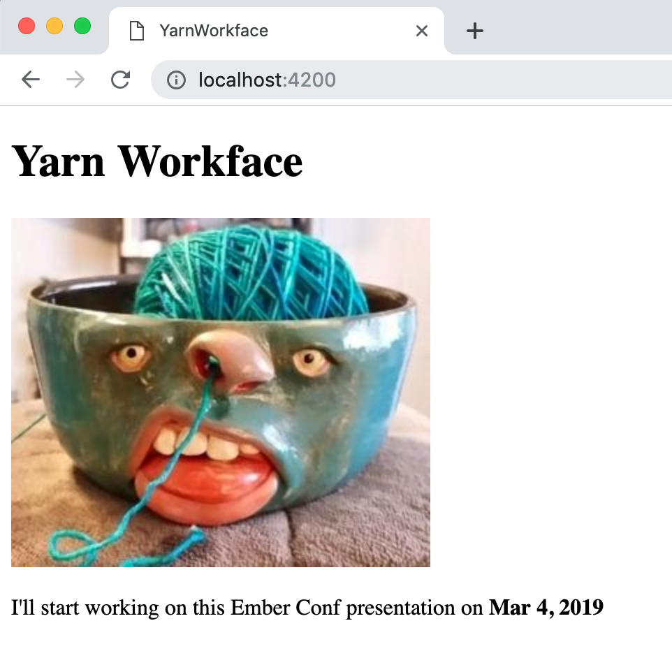 Yarn Work Face, literally
