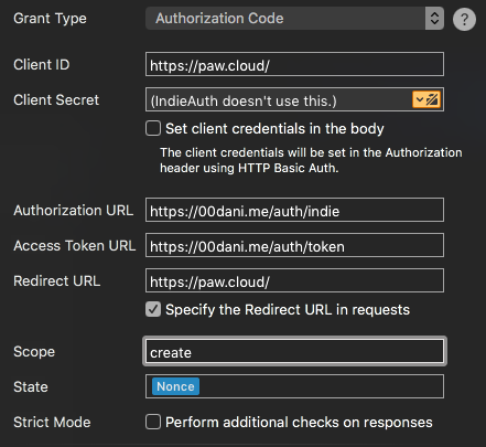 Paw configured to authorise with 00dani.me using OAuth 2.0.
