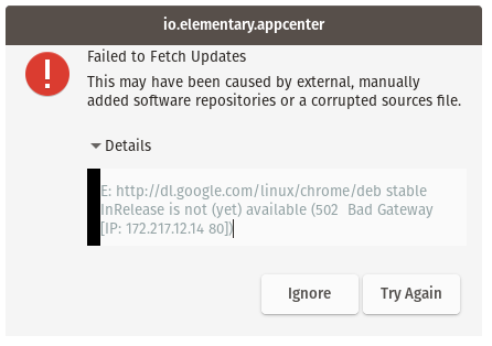 Failed to Fetch Updates