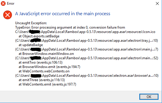 A javaScript error occured in the main process: Uncaught