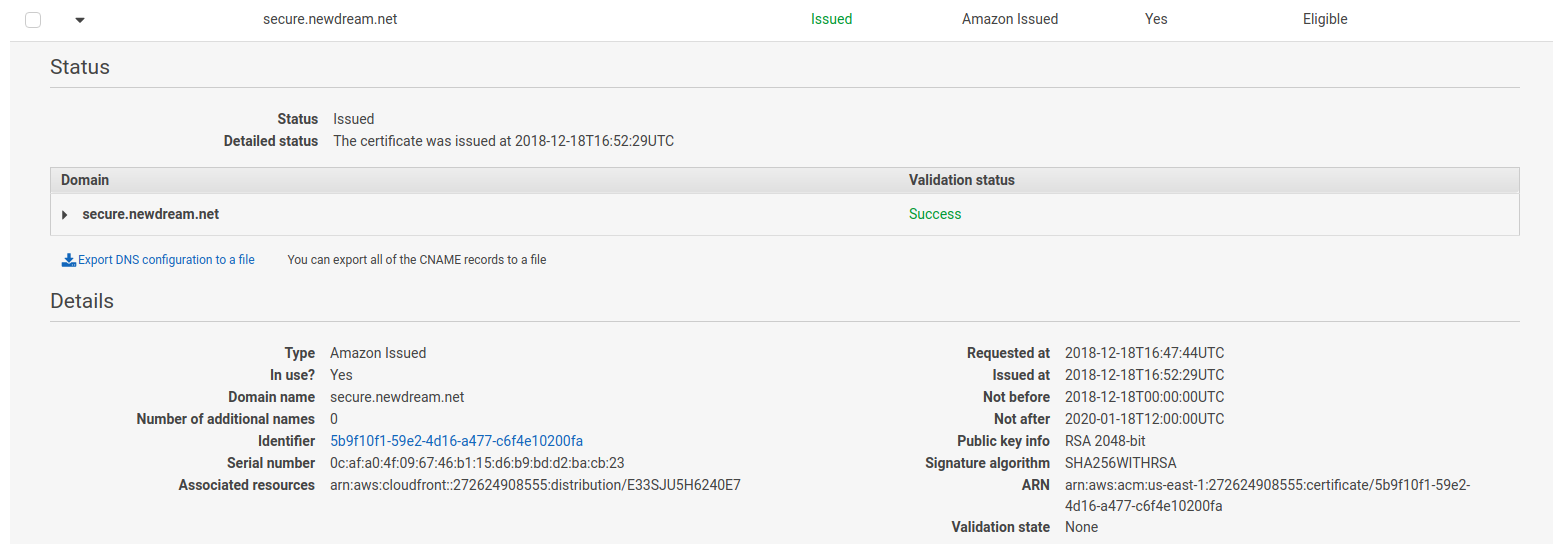 aws_acm_certificate_validation on certificate that is in