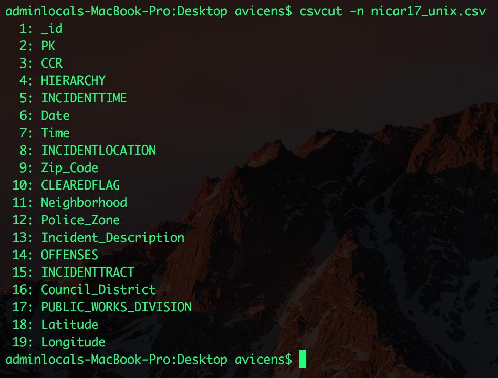 csvcut screenshot