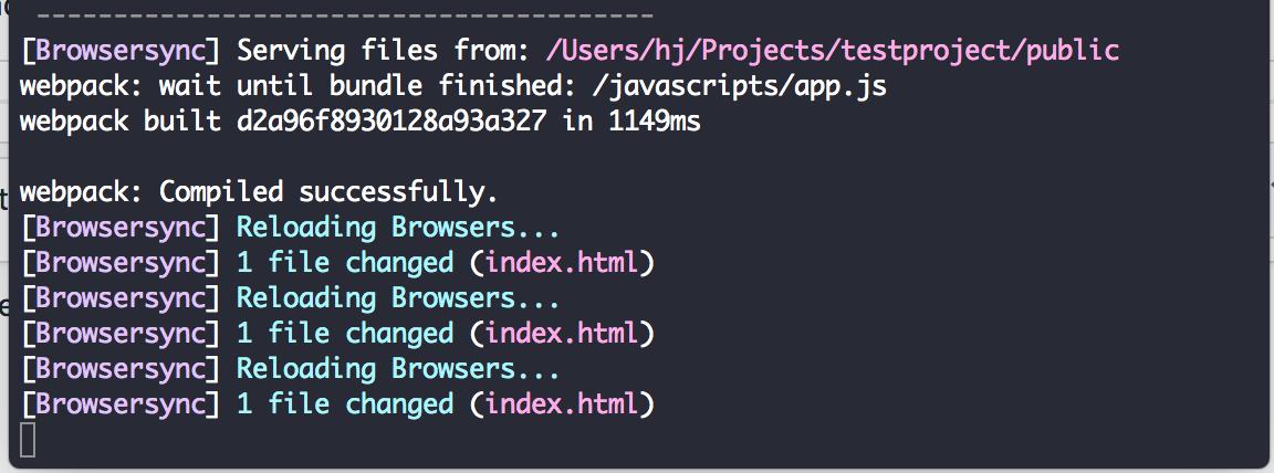 browsersync javascript not updating