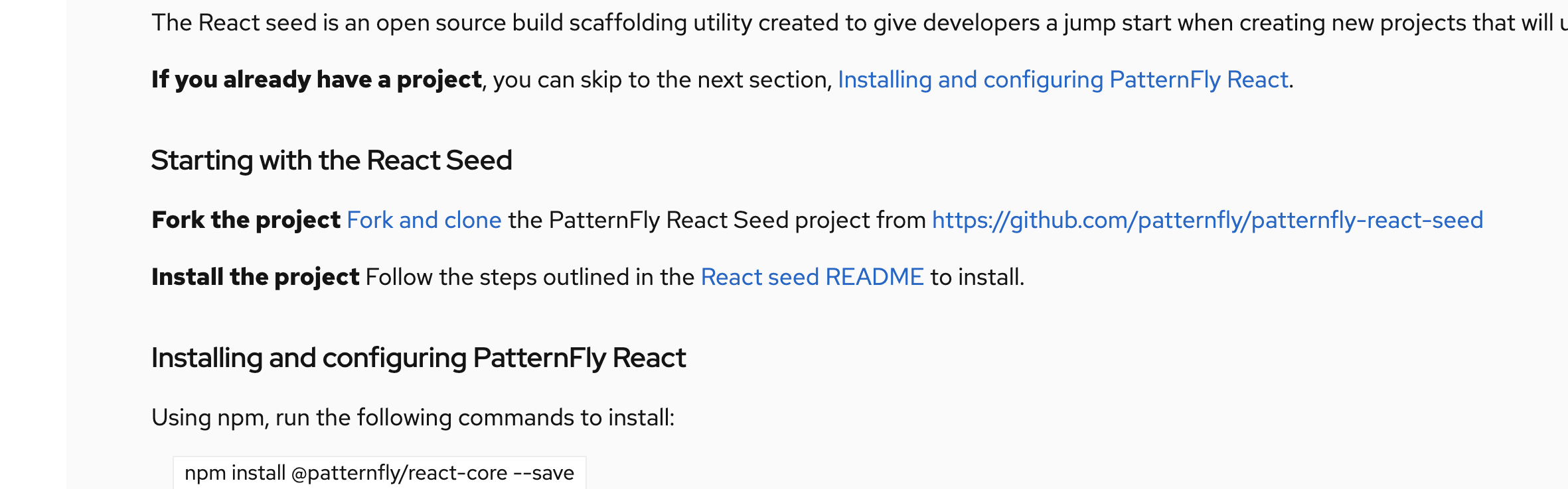 Javascript seed project is missing from getting started