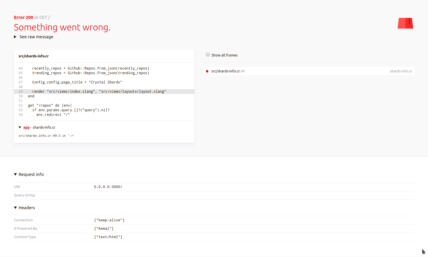 new exception page