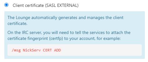 SASL external (certfp)