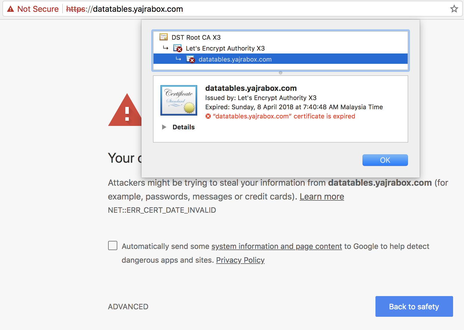 Website Ssl Certificate Expired Issue 1705 Yajralaravel