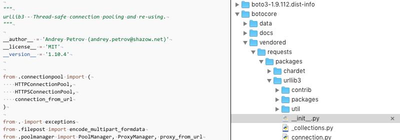 urllib3 vendored library error · Issue #1696 · boto/botocore