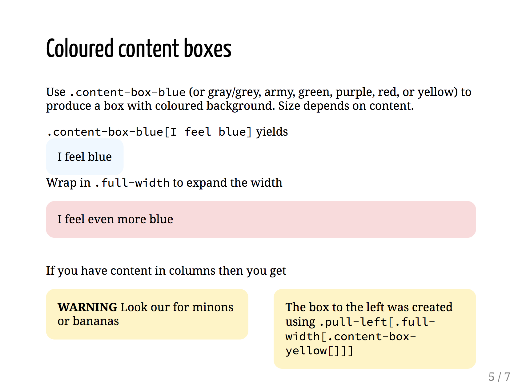 colored content boxes