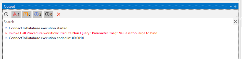 Database: Execute Non Query : Parameter 'msg': Value is too
