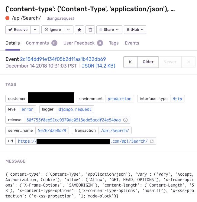 Django WSGI integration logs exceptions with odd titles