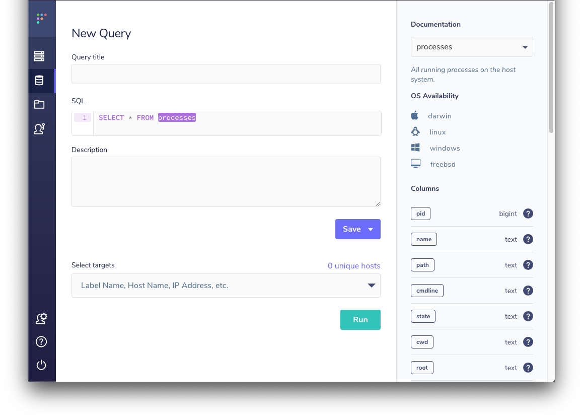 Screenshot of query editor