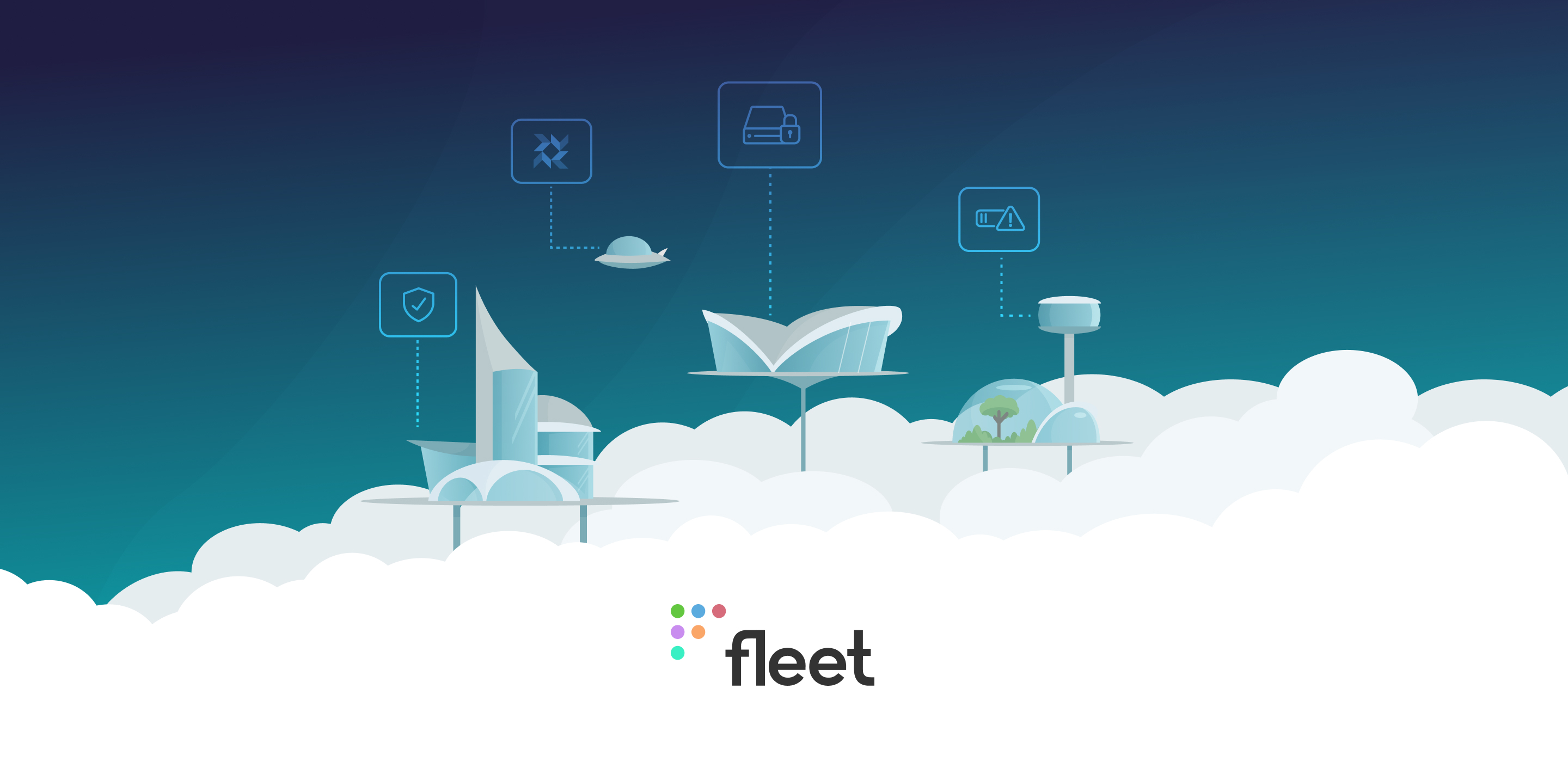 Banner featuring a futuristic cloud city with the Fleet logo