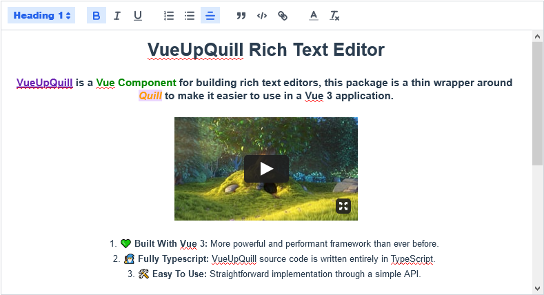 Screenshot VueQuill Editor