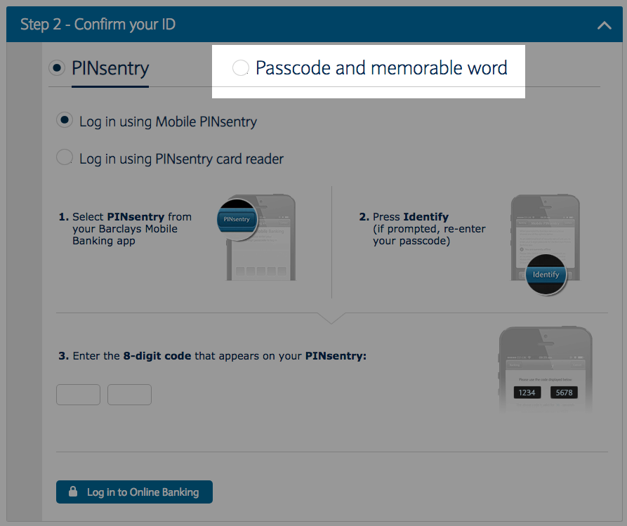 Barclays Interface Does Not Support Non Pinsentry Online Banking