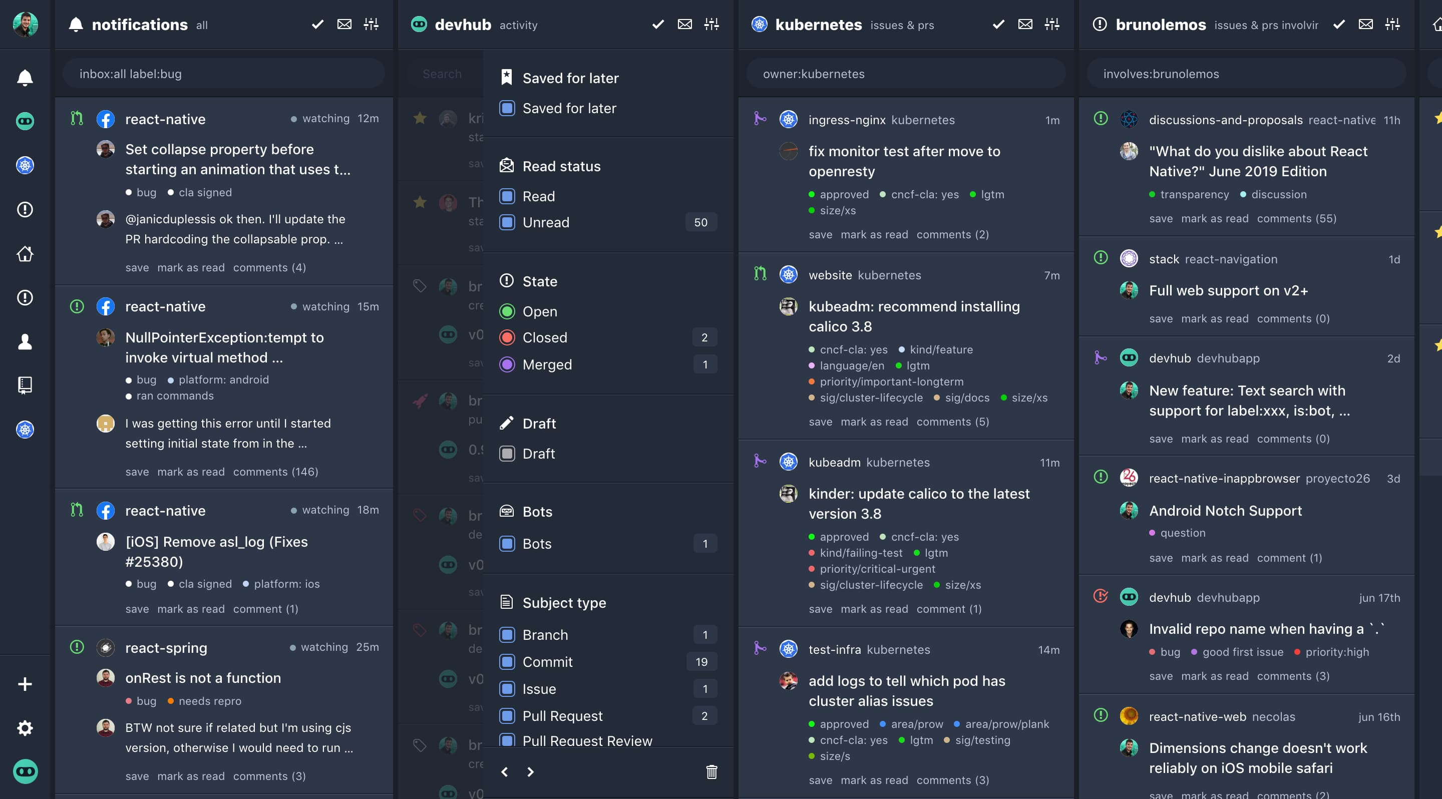 DevHub Desktop - Multi-column view
