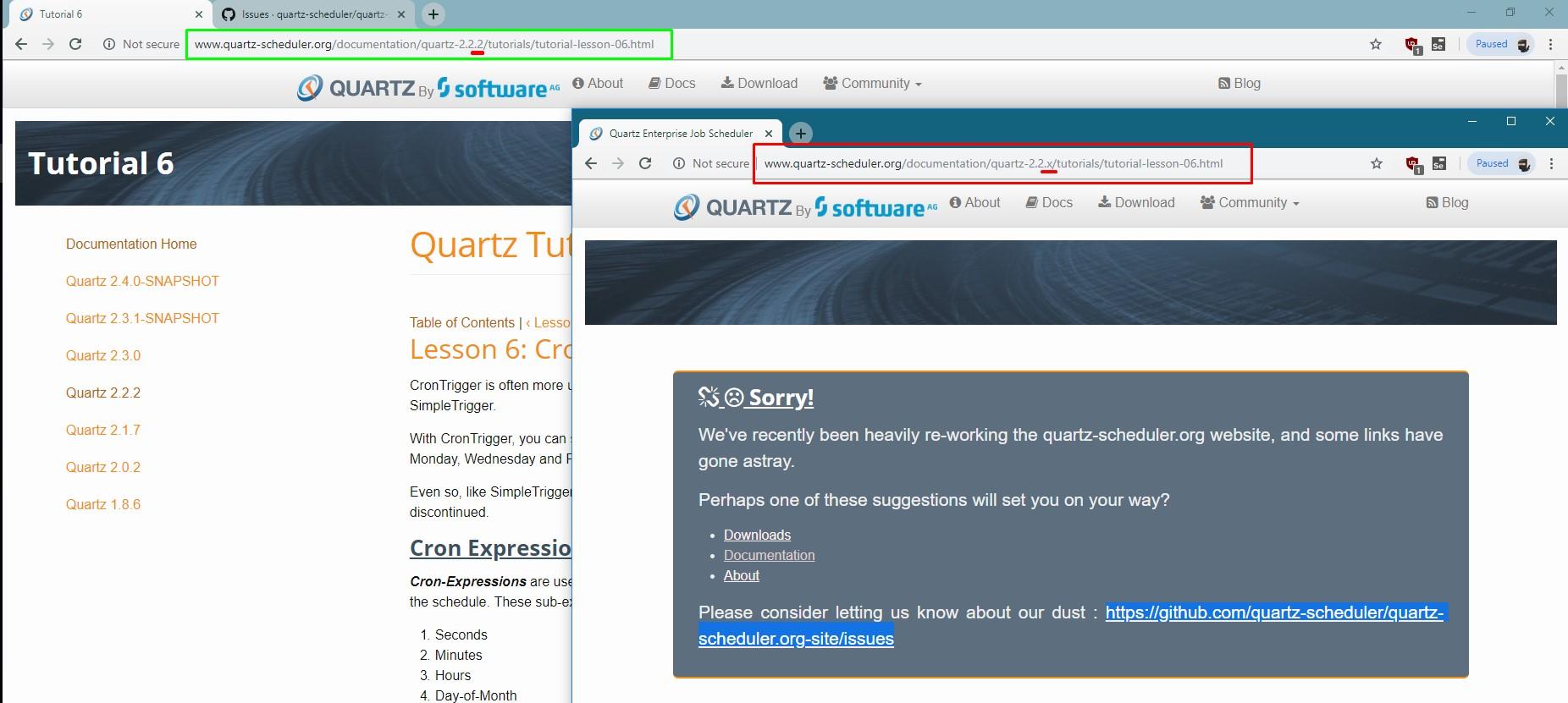 Quartz 2 2 3 Documentation: some links have gone astray