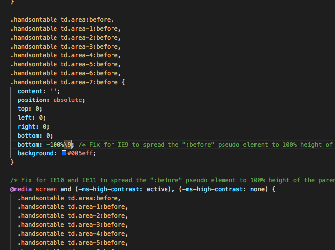 error on /dist/handsontable css page (around line 442)- the