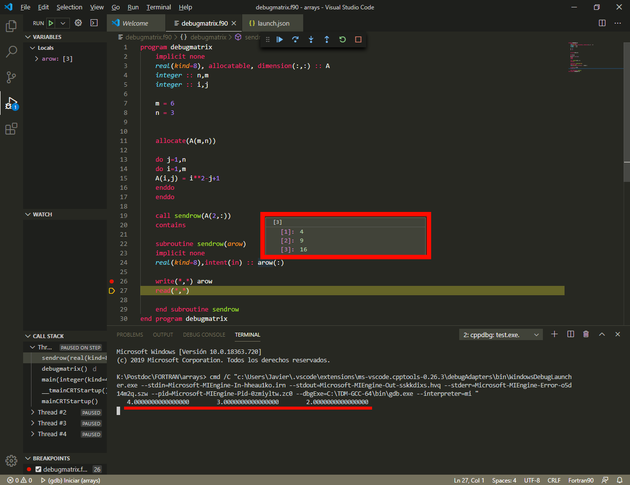 Fortran Gdb Debugging Wrong Array Values Issue Microsoft Vscode Github