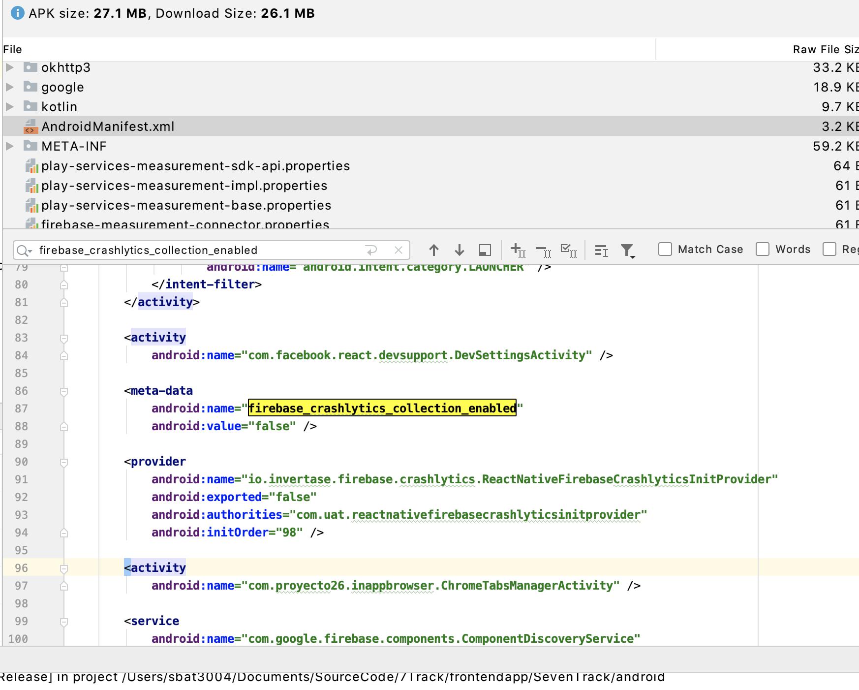 🐛] Apk builds with firebase crashlytics collection enabled ...