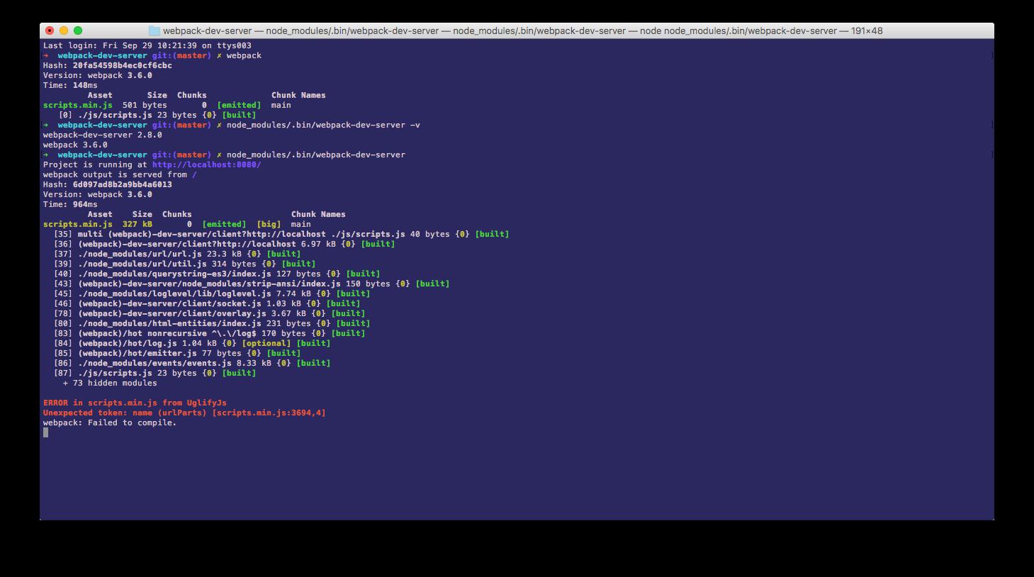 Build succeeding with webpack fails with webpack-dev-server