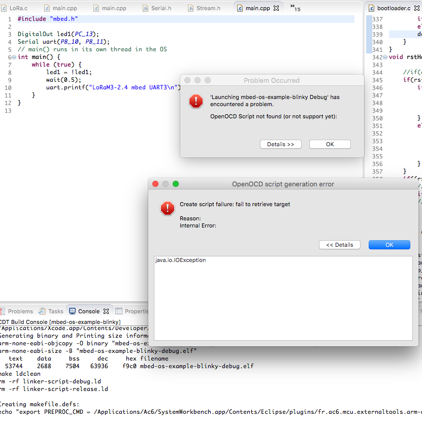 CLI export to SW4STM32 fails on OSX · Issue #5804 · ARMmbed/mbed-os