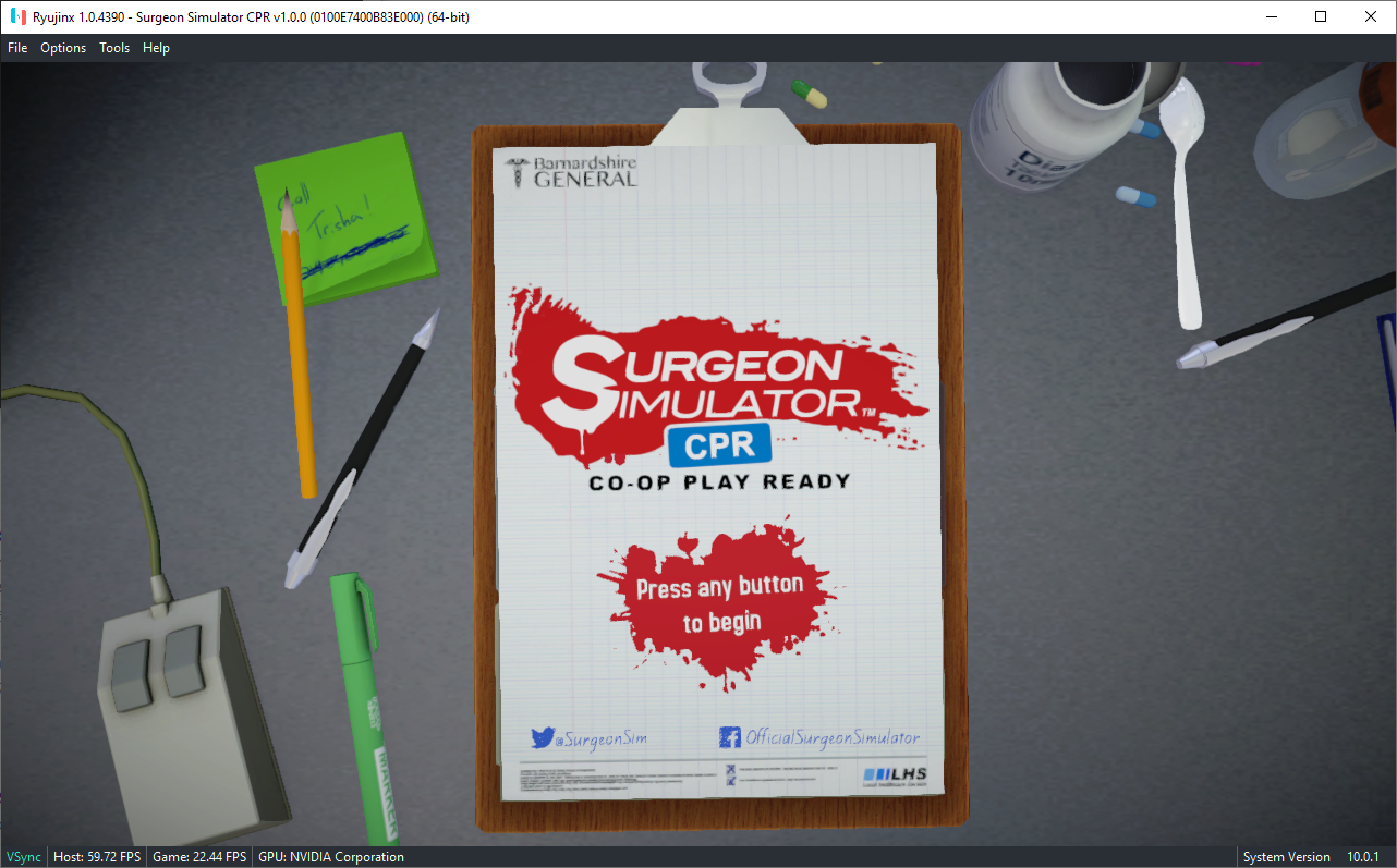 Surgeon Simulator Cpr Issue 1021 Ryujinx Ryujinx Games List Github