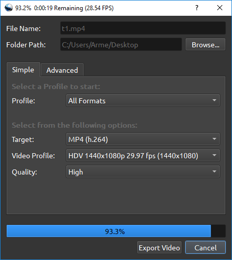 Name of the exported video without double extension · Issue #2510