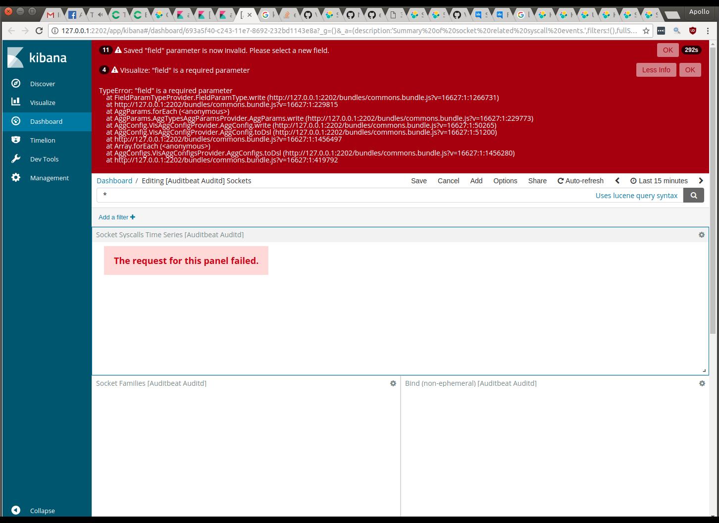 Auditbeat Kibana dashboards broken, when using Logstash · Issue