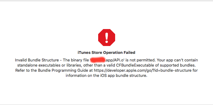 issue with API o when i try to upload the app to app store