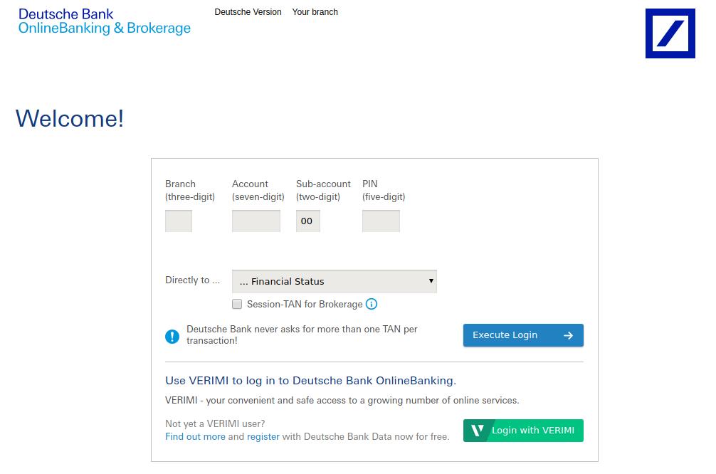 deutsche bank online banking login