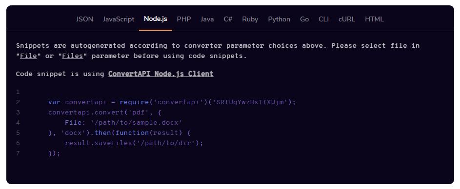 NodeJS code snippet
