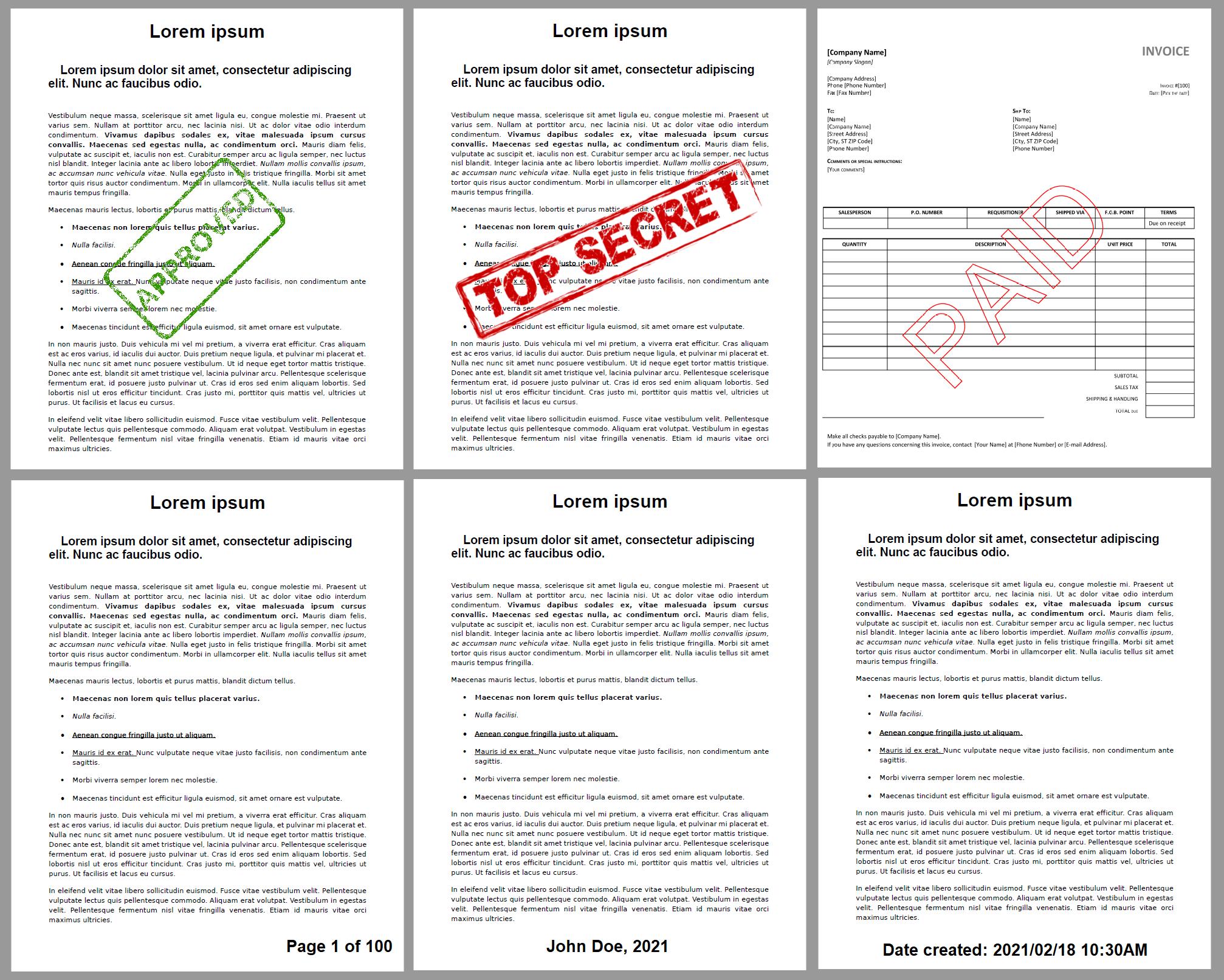PDF Watermark Examples