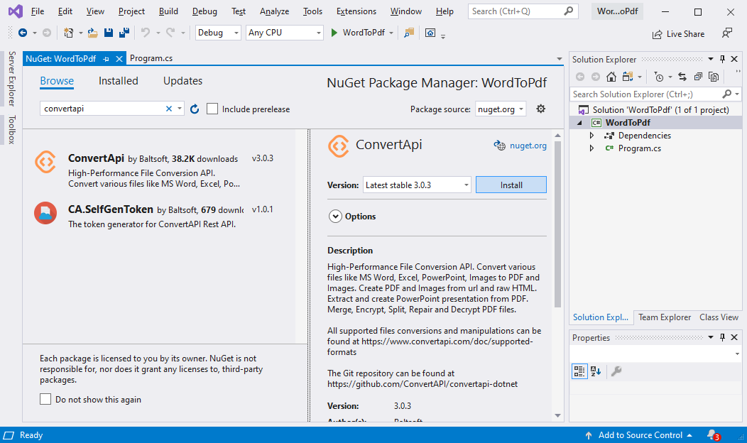 ConvertAPI NuGet package