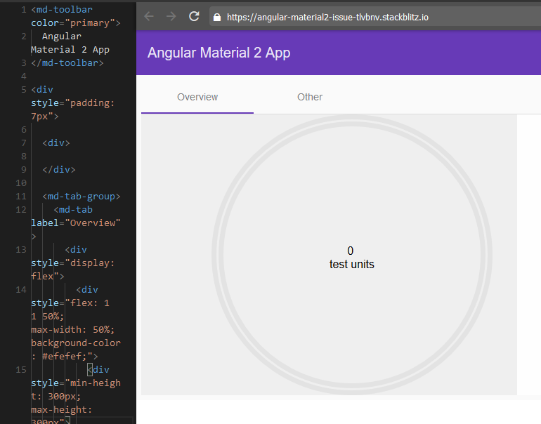 Chart does not fit inside container when used in Angular Material